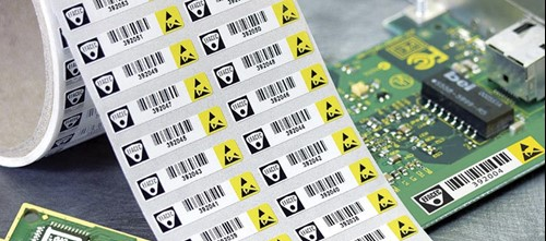 PCB labels with linear and 2D barcodes
