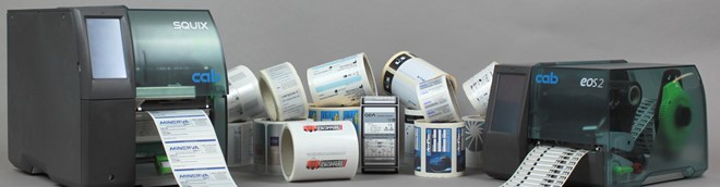 Two thermal transfer printers with labels